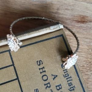Francesca's Gold Silver Tone Flower Cuff Bracelet